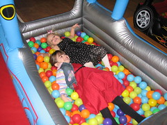 Sam and Kicka in the ball pit