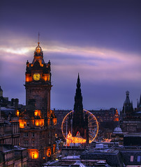 Princes Street (the44mantis) Tags: city carnival light sunset sky clock wheel scott hotel scotland edinburgh dusk princesstreet sirwalterscott escocia edimburgo hdr balmoral scottmonument schottland schotland ecosse scozia auldreekie edimburg dimbourg