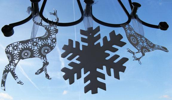 deer, snowflake and bird
