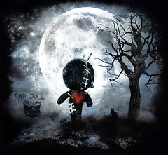 SaD DoLL (  T_ !  ) Tags: blue sky moon black tree bird love girl cat dark design doll sad kuwait cry q8