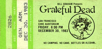Grateful Dead concert ticket for 12/30/83 Civic Auditorium, San Francisco [borrowed from www.psilo.com]