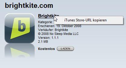 iTunes: URL zu iPhone App kopieren