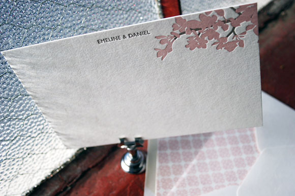 Cherry Blossom letterpress stationery - Smock