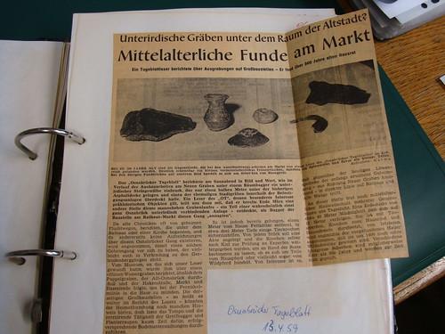 1959: Mittelalterliche Funde am Markt