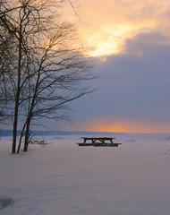 Approaching Snow In the Distance (Lori Garske) Tags: winter sunset sky storm cold tree clouds frozen lakeerie dusk pennsylvania snowstorm freezing snowcovered frozenlake presqueisle eriepa presqueislestatepark supershot vanagram flickraward