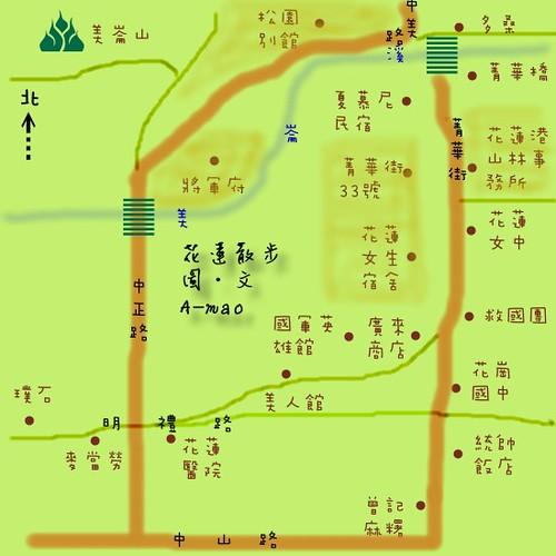 monacat1 拍攝的 花蓮散步路線圖。