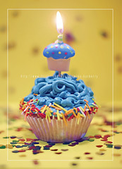 Happy BirthDay My SweetHeart (Doue ) Tags: birthday blue cute love colors canon hearts happy 50mm candle very you cupcake much sweetheart hbd a 6feb yummmmmmmy colorphotoaward 622009