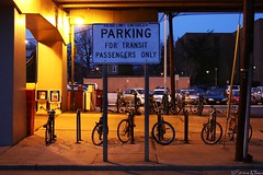 Parking (Harpo42) Tags: light public station bicycle sign train dusk parking nj atlanticavenue lot bikes row rack transit commute mass patco southjersey speedline collingswood drpa
