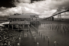 Cannery Pier Hotel and Astoria-Megler Bridge (Robert_Brown [bracketed]) Tags: life bridge bw brown white black robert oregon canon river ir hotel pier columbia 10d pixel infrared astoria converted pilings cannery megler lifepixel astoriamegler