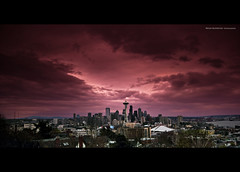 Seattle Skyline (Bryan Koorstad) Tags: seattle city trees light sunset red sky usa cinema art skyline architecture night clouds canon buildings dark landscape rebel washington downtown cityscape dusk space bryan needle wa cinematic 2012 2010 lightroom 2011 550d t2i koorstad