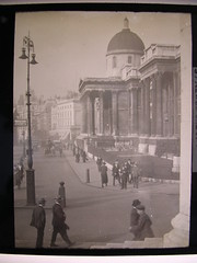 Memories-The National Gallery, London c.1900. (davidezartz) Tags: street uk greatbritain england sky people white black macro london glass monochrome hat closeup architecture vintage bu