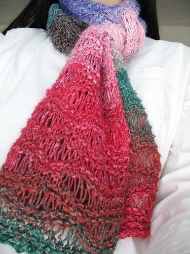 Easy Drop Stitch Scarf in Noro Silk Garden