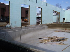 view of the competition pool with its concrete completed