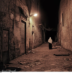Alone in The Dark (Jamal Alayoubi) Tags: old light woman black night dark nikon darkness muslim fear 14 egypt cairo horror 24 ksc nikkor d3 jamal  alayoubi