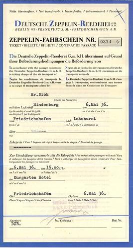 Tarjeta de embarque del Hinderburg
