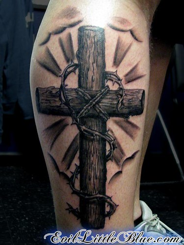 Wooden Cross by EvilLittleBlue. Tattoo by Miss Blue.