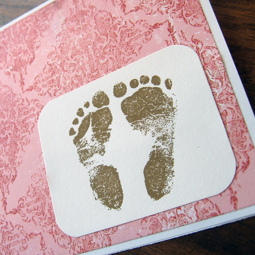 Sweet Girlie Feet -- Simple and Pretty Handstamped Card for New Baby Girl
