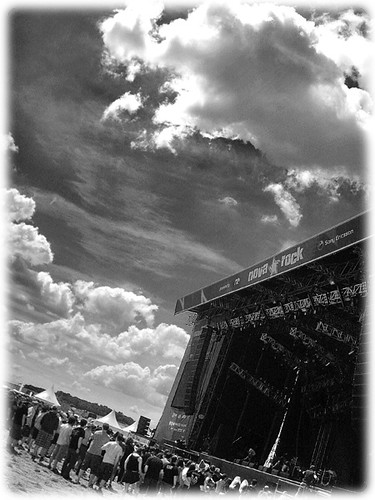 Blue Stage with clouds