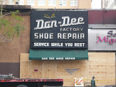 Dan-Dee Shoe Repair (jericl cat) Tags: old dan sign vintage shoe losangeles neon factory demolition historic repair hollywood dee damaged dandee
