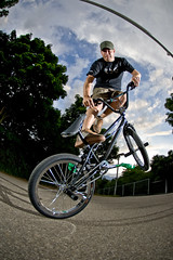 flatland - decade (moophisto) Tags: bike bicycle sport germany bmx action flash extreme fisheye tokina trick kirsten karlsruhe stunt flatland decade kgm europahalle khe gntherklotzanlage 1017mm strobist khebikes