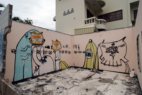 Street Art in Thailand - Banana and Creatures - Bang Saen, Thailand