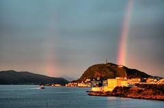 Sunset rainbow (larigan.) Tags: sunset rain rainbow doublerainbow lesund aalesund goldenlight flicksbest larigan valderyfjord phamilton