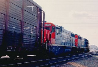 Northbound Grand Trunk Western freight train. Mc Cook Junction. Mc Cook Illinois. May 1990.