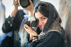 Iranian woman photographer in oldest Iranian mosque (damonlynch) Tags: camera people persian women iran islam religion headscarf hijab persia mosque iranian homepage semnan damghan alieh monire upcoming:event=916887 tarikhanehmosque