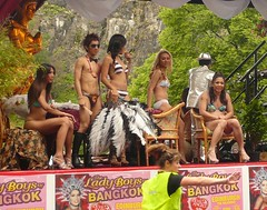 Edinburgh Fringe: Ladyboys of Bangkok (chairmanblueslovakia) Tags: scotland edinburgh fringe festival thai thaland cabaret float shemale kathoey ladyboys of bangkok ladyboysofbangkok bikini stewardess picnik transsexual high heels asian trees the meadows two peice hair cavalcade
