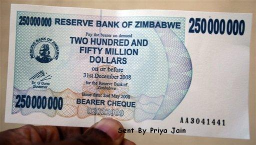 Zimbabwe $250 Million Note