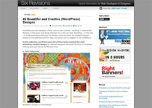 45 Beautiful and Creative (WordPress) Designs