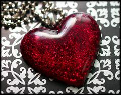 Ruby Red Heart (stOOpidgErL) Tags: red love glitter diy necklace heart handmade craft jewelry plastic resin pendant stoopidgerl
