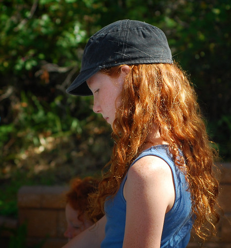 Red hair..black hat