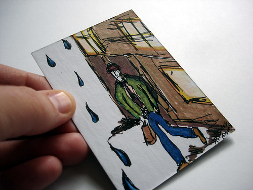 Walking into the Rain - ACEO