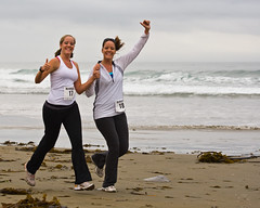 1 of 2 Two delightful girls give thumbs up - Runners at 1st Annual Rock 2 Rock 5 Mile Fun Run (mikebaird) Tags: ocean girls beach water smiling strand sisters fun happy twins sand women jellyfish racing runners morrobay females thumbsup jogging joggers wholesome morrostrand havingfun californiagirl 04oct2008