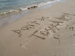 Dont Be Tossed Away, Sand Graffiti on Lake Michigan, Sheboygan County, Wisconsin, May 2008, photo © 2008 by QuoinMonkey. All rights reserved.
