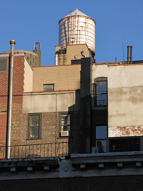 a water tower in New York City, Manhattan, NYC