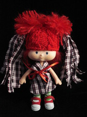 Rooby in checked mini marvellous madge hat! (polly :)) Tags: hat vintage strawberry doll polly granny madge shortcake