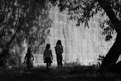 Moments (shmeeed) Tags: girls shadow tree childhood wall children geotagged three prague praha frame melancholy vltava stairstepchildren