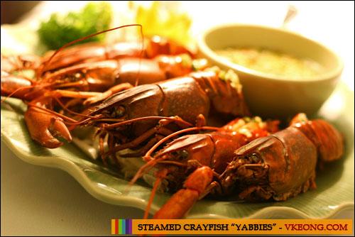 steamed crayfish yabbies