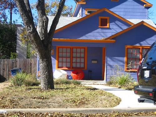 cute house:  purple w/ orange trim