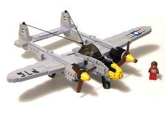 P-38 (psiaki) Tags: lighting airplane fighter lego wwii lockheed moc p38
