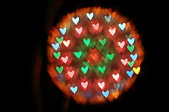 Ball of Bokeh Hearts  ( dragonflyriri  (Limited Flickr Time)) Tags: christmas light holiday ball festive hearts diy heart bokeh decoration decor  hbw img2834 bokehwhores concordians bokehoftheday bokehpalooza