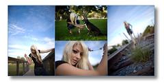 Trisha Collage (l23hornet) Tags: railroad dog girl canon model traintracks longbeach blonde trisha 35mm14 markiii1ds