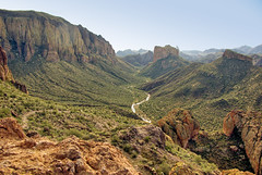 LaBarge Creek from Boulder Canyon Trail - Superstition Wilderness (Al_HikesAZ) Tags: arizona mountains southwest forest landscape hiking quote nationalforest explore trail national backpacking wilderness overlook tonto superstition supes superstitions bouldercanyon weaversneedle tontonationalforest azhike alhikesaz battleshipmountain labargecreek