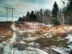 The Road Less Traveled (b_macd) Tags: trees winter snow canada ice forest trail remote powerline hdr isolated photomatix