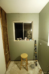 _DSC0262 (hipengr) Tags: window drywall bathroom diy level remodel stool sheetrock greenboard