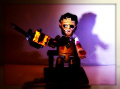 Leather Face (mightyquinninwky) Tags: light shadow color colour geotagged toy actionfigure blood dof mask bokeh leatherface chainsaw tie onwhite diorama onblack viewonblack geo:lat=37693202 viewonwhite texaschainsawmasacre geo:lon=87905694