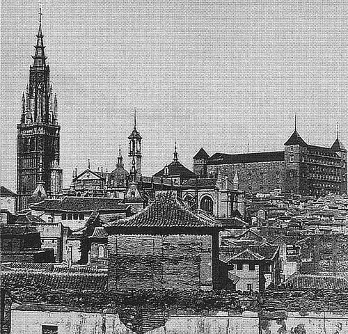 Catedral de Toledo con la Torre del Reloj antes de ser demolida en 1888