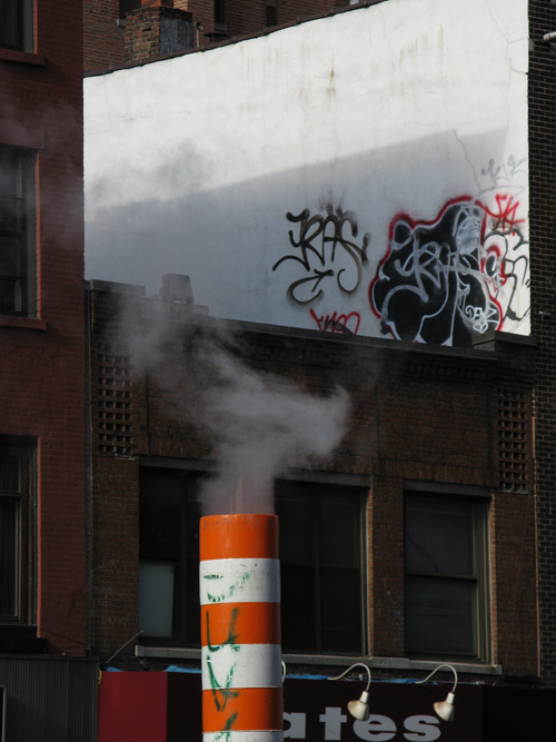 a steam pipe on the street, Manhattan, NYC